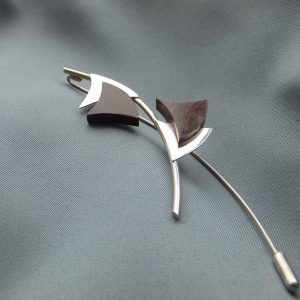 sterling silver rose wood brooch