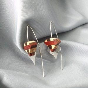 silver wood earrings