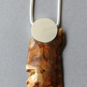 reclaimed yew sterling silver pendant