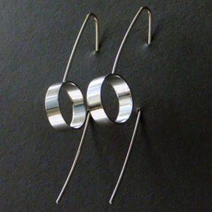 Earrings, 6cm, sterling silver portholes.